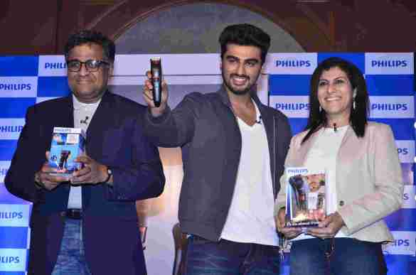 Mr. ADA Ratnam, President, Consumer Lifestyle, Philips India, Arjun Kapoor, Brand Ambassador, Male Grooming Line, Philips India and Ms. Anurita Chopra, Director Marketing, Personal Care, Philips India
