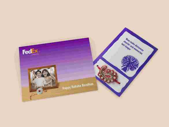FedEx Rakhi Package inclusive of a beautiful Rakhi, Greeting card and Flat rate shipping