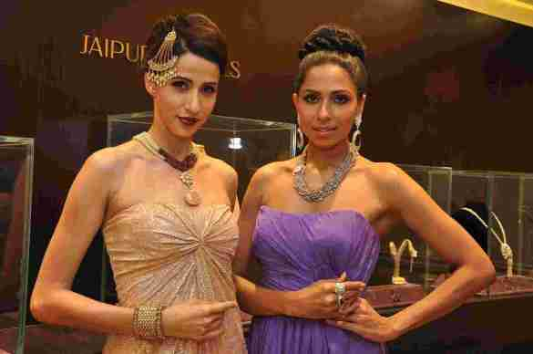 Models Alesia Raut and Candice Pinto at Jaipur Jewels store launch Nepean Sea Road