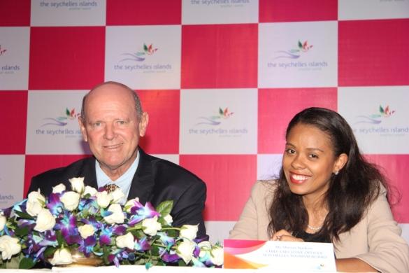 Mr. Alain St. Ange, Seychelles Minister of Tourism and Culture and Ms. Sherin Naiken, CEO, Seychelles Tourism Board at the press meet by Seychelles Tourism Board