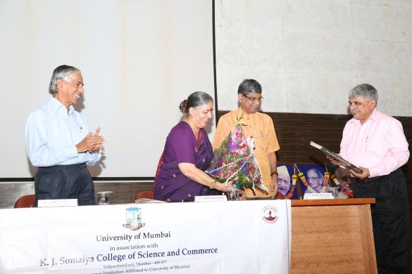 From L to R Mr. V Ranganathan, Hon.Secretary,Somaiya Trust, Dr.Vandana Shiva, Dr.Rajan Welukar, Vice Chancellor, University of Mumbai & Dr. Vijay Joshi, Principal, K J Somaiya College of Science & Commerce