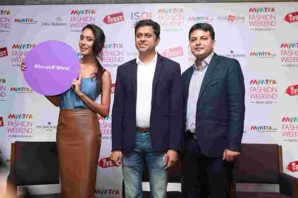 Lisa Haydon with Mukesh Bansal CEO Myntra & Fashion Head,Flipkart, Saket Dhankar,Fashion Head , IMG