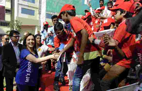 Mrs Nita Ambani meets the kids from various NGO's during the launch of the Reliance Foundation Young Champs programme held in Mumbai, India on the 7th December 2014. Photo by:  Pal Pillai/ ISL/ SPORTZPICS