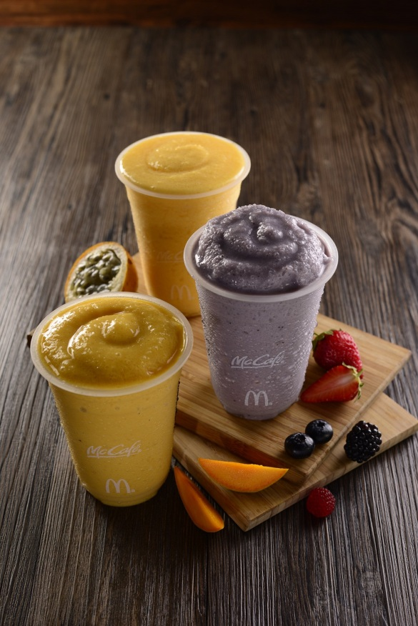 McCafe- Real Fruit Smoothies- Mango, Passion Fruit and Mixed Berry