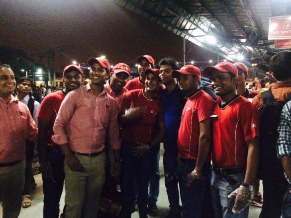 KFC staff with the first IRCTC customer - Mr. Abhishek Gupta