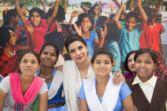 """UNICEF goodwill Ambassador, Priyanks chopra engages with adolescent girls, of Kamla Nehru School, and five girls (Bharia tribal) from Patalkot in Chhindwara district to highlight the importance of anemia prevention in Bhopal, Madhya Pradesh. She discussed imposratnt issues affecting their lives including nutrition and partyicularly ways to prevent anemaia. """"Anaemia is a key health concern facing young girls and boys across the country but it is something that has a simple, workable solution. A blue iron Folic Acid (IFA) tablet once a week and deworming tablets every six months. It really is that simple. We need to create awareness about how these simple steps can have a huge and long-lasting impact in this generation of girls and boys and in the generations to come,"""" Priyanka Chopra, UNICEF Goodwill Ambassador, stated after reiterating her commitment to the cause of adolescents and showing her appreciation for being able to spend quality time with the group of adolescents in the City of Lakes, as Bhopal is known.  Anaemia adversely affects the mental and physical capacity of young boys and girls, retarding their physical development, making them fatigued and breathless, and often affecting their memory and energy to perform daily tasks."""