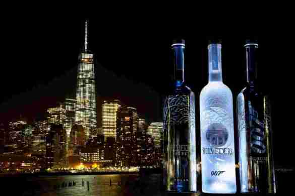 Belvedere 007 Silver Saber and 007 SPECTRE bottle with NY Freedom Tower skyline