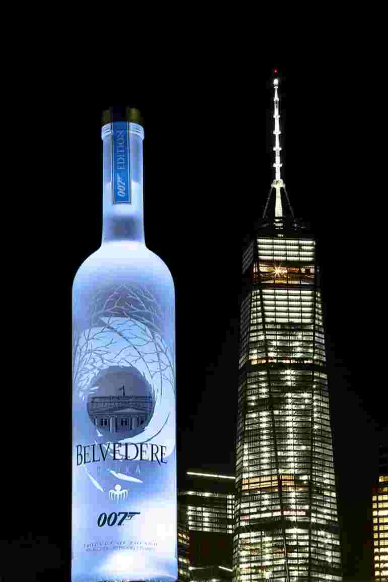 belvedere 007 spectre bottle next to new york freedom tower - Celebrate Freedom 2018