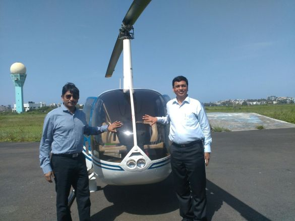 From left to right Paraag Jaiin Nainuttia, Managing Director, MTDC and Satish Soni, Joint Managing Director, MTDC during the launch of Heli Tourism in Mumbai