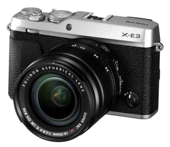 X-E3_Silver_FrontObl+XF18-55mmF2.8-4